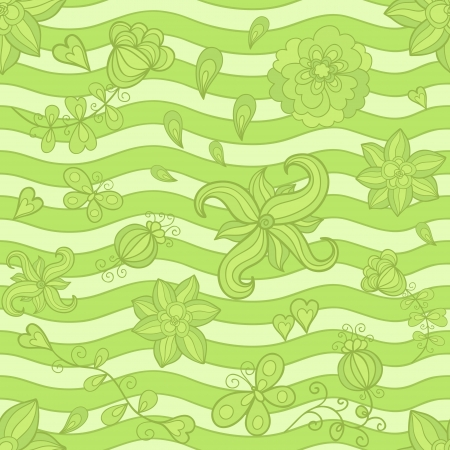 seamless pattern, doodle flowers. Green mosaic variant. Vector