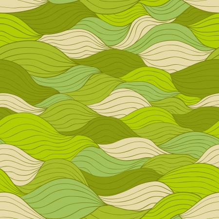 Weaving abstract shapes seamless pattern in green tints  Vector