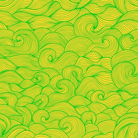 Stylized water waves and scallops doodle seamless pattern Stock Vector - 20697949