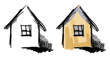 house sketches  Black and white and colorful variants  Vector