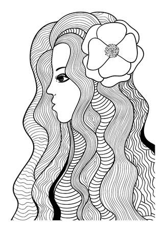 Beautiful girl with flower  Black and white stylized illustration Illustration