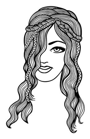 gravure: Black and white girl sketch Illustration