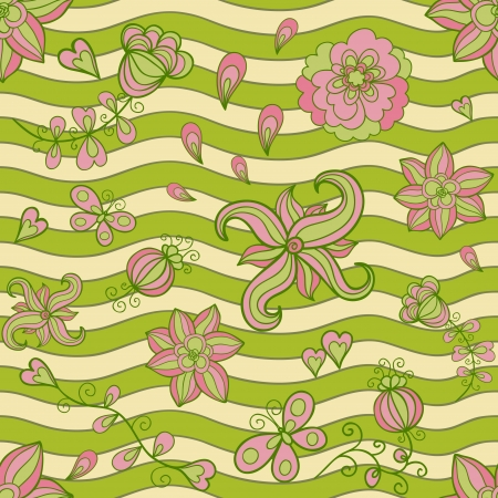 Abstract floral doodle seamless pattern  Subdued retro colors Vector