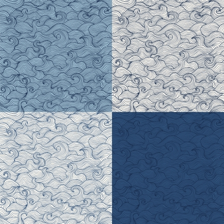 Doodle marine waves  seamless pattern set in blue and white tints Stock Vector - 20698118