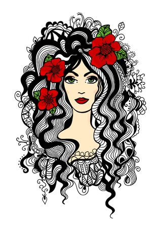 Beautiful woman with contrast red flowers in hair  Hand drawn doodle graphic  Vector