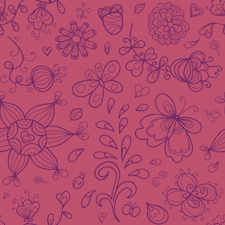 tints: Abstract doodle floral seamless pattern in purple and vinous tints  Illustration