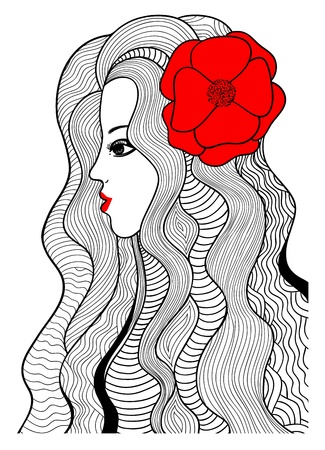 Black and red illustration  Stylized girl and red flower  Illustration