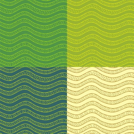 Set of abstract wavy seamless patterns  Vector