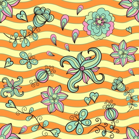 Doodle stylized flowers seamless pattern Vector