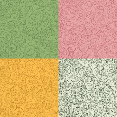 Collection of stylized hand drawn abstract seamless patterns Vector