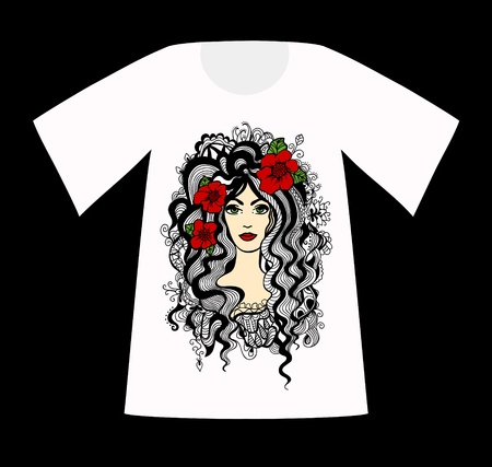 T-Shirt with a drawing of beautiful woman. Vector