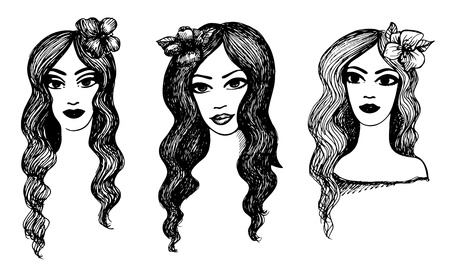 gravure: set of sketches. Beautiful girls with flowers in hair. Black and white. Illustration