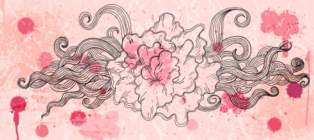 Artistic doodle background in rosy colors Vector