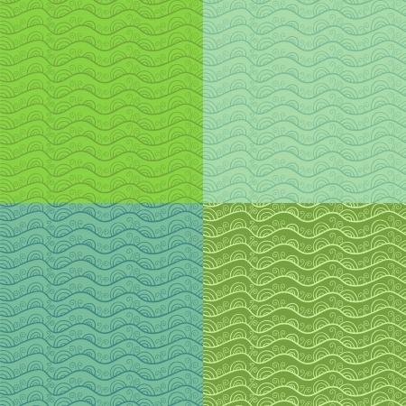 tints: Abstract stylized vectror seamless pattern set. Green tints. Illustration