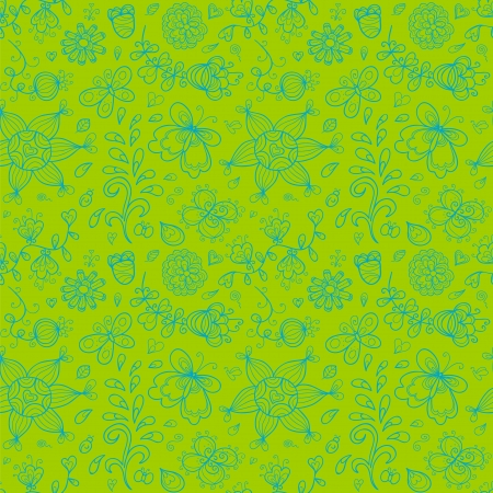 Abstract doodle seamless pattern in green and blue colors. Stylized sun, butterfly, flowers. Vector