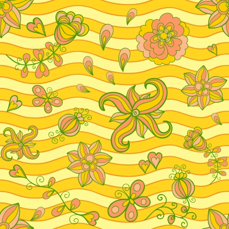 Summertime seamless pattern. Sunny light colors. Vector