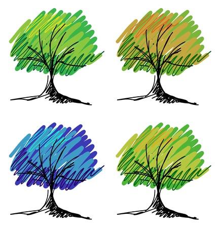 Ensemble de croquis d'arbres Banque d'images - 20698287