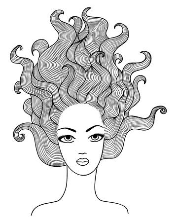 gravure: hand drawn girl outline illustration Illustration