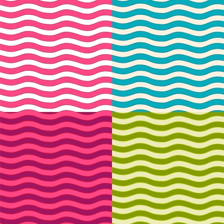 Set of wavy seamless patterns. Vector