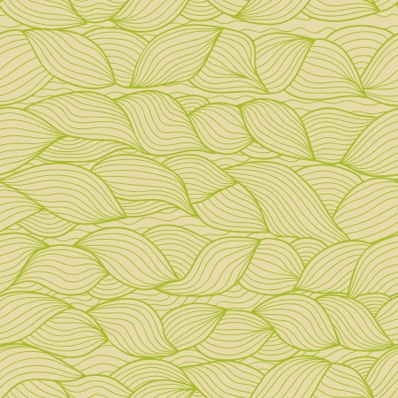 tints: Abstract weaving doodle shapes seamless pattern in beige and green tints. Illustration