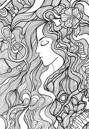 Black and white outline vector illustration of a beautiful long-haired woman  The charm of music, melody, sound  Vector