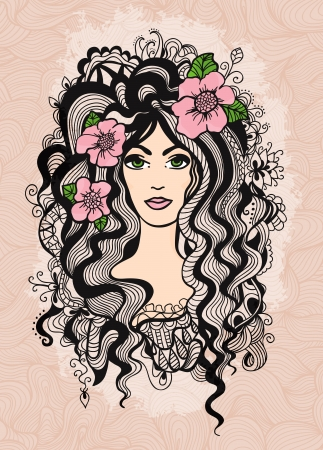Beautiful vector hand drawn girl on retro textured background. Vector