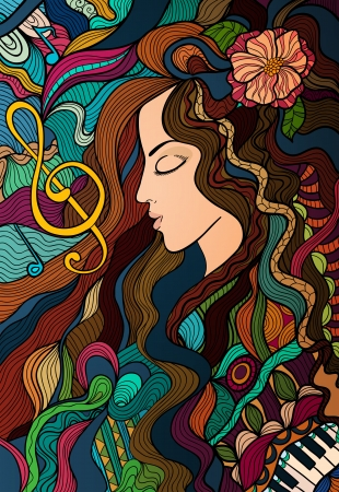 stained glass: Colorful contrast hand drawn girl and melody. Vector background for your design.