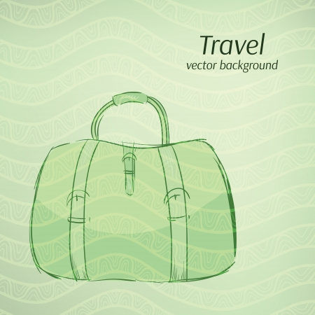 sac: Travel vector background in retro green tints.