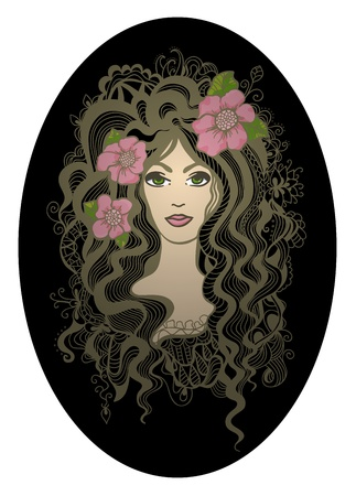 Creative oval illustration. Beautiful hand drawn girl with rosy flowers. Vector