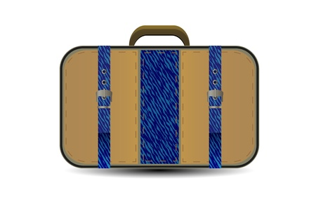 brown travel bag with big blue denim inset. Stylized illustration for your design Vector