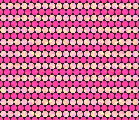 Abstract geometrical vector seamless pattern. Colorful varied diamond hexagon shapes. Flat design style. Rosy, pink and black colors. Stock Vector - 22145910