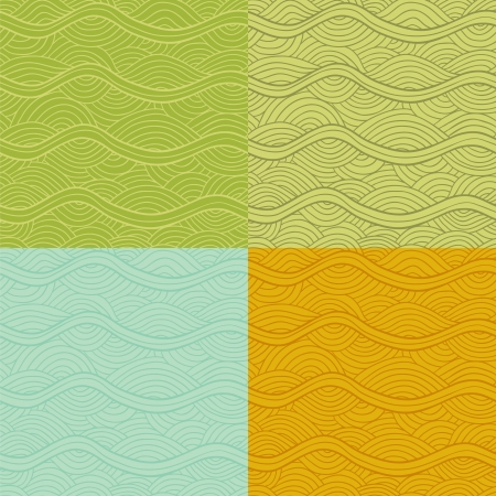 Abstract vector seamless patterns set. Nice retro colors. Vector