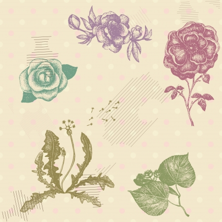 Retro vector seamless pattern with hand drawn artistic flowers on pastel polka dotted background Vector