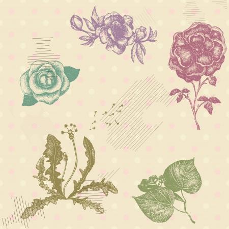 polka dotted: Vector sin patr�n retro con flores dibujadas a mano art�stico en colores pastel fondo punteado polca Vectores