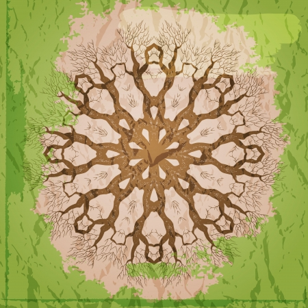 Abstract vector background with round ornament resembling tree. Green and brown colors Vector