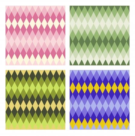 tints: Abstract vector seamless pattern set. Rhombs of blending tints. Modern flat style