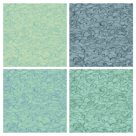Set of vector seamless patterns. Waves and scallops. Vector