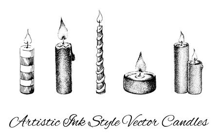 Artistic Ink style vector collection of candles.