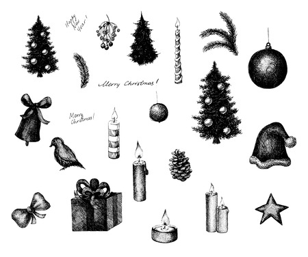 Set of vector ink style Christmas elements, such as decorated fir tree, cone, cap, gift, candles and other. Black and white engraving print. Vector