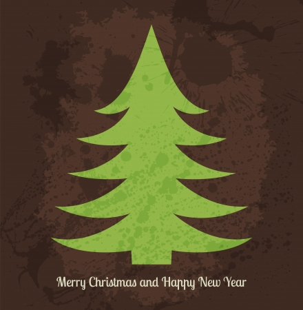 Vector Christmas card with stylized green fir tree for Your Design Vector