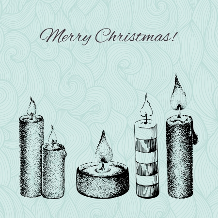 gravure: Vector Christmas card with dotted hand drawn candles on patterned background