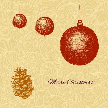 gravure: Vecor Cartolina di Natale con decorazioni di abete e cono Vettoriali