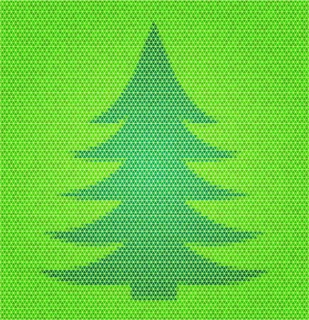 Flat design polygon style Christmas fir tree Vector