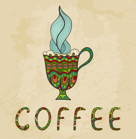 Artistic coffee cup with smoke doodle. Vector
