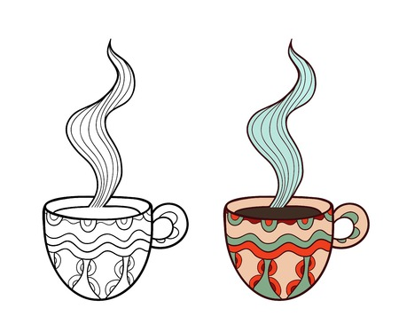 Set of two doodle coffee cups
