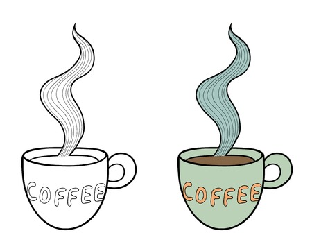 Set of two doodle coffee cups with