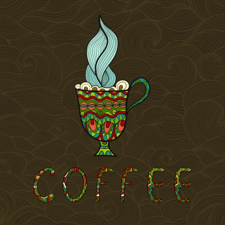 Doodle coffee cup on patterned background illustration Vector
