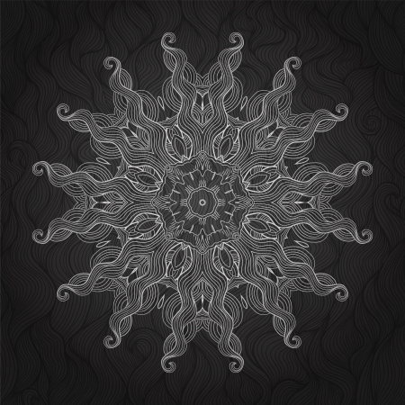 fancywork: Abstract background with round ornament. Black and white.