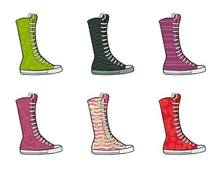 Set of patterned high gumshoes. Side view. Vector