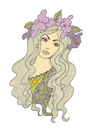 Beautiful hand drawn long-haired girl with flower crown on her head